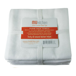 MU Kitchen Flour Sack Towel White - MU Kitchen Flour Sack Towels - Super utility plus a new color explosion!  This set of 3 flour sack towels is not only great for covering dough  these lint free towels are also perfect for drying dishes and polishing glassware.  100% absorbent cotton.  Set of 3  imported from India.Product Features                      Extra soft 100% absorbent cotton          Lint free - great for drying  polishing  and covering dough          Imported from India          Set of 3