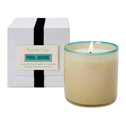 French Lilac / Pool House Candle - Enhance the sensory palette of elite surroundings with the seductive yet clean-smelling tradition of French Lilac the primary note, along with jasmine and rose, in the full-bodied floral aroma of the Pool House Candle. Made from soy-based wax poured into a cylindrical art glass vessel with a brilliant pale emerald touch, the candle pours exquisite scent into the air with every lighting.