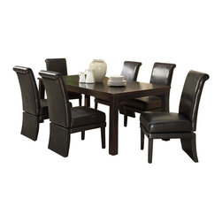 Monarch Specialties - Monarch Specialties 7 Piece 78x40 Dining Room Set with Swivel Side Chairs - This dining table offers rich design and transitional styling that invites a relaxed setting into your home. Finished in a dark espresso, this clean lined rectangular shaped dining table will create the perfect look for intimate dinners or casual get togethers. This piece features thick block legs and an extension leaf to accommodate all your friends. What's included: Dining Table (1), Side Chair (6).