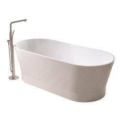 ADM - ADM White Stand Alone Solid Surface Stone Resin Bathtub, Matte - SW-120