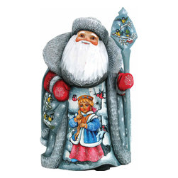 "Artistic Wood Carved Santa Claus One With Nature Sculpture - Measures 11""H x 5""L x 4.75""W and weighs 4 lbs. G. DeBrekht fine art traditional, vintage style sculpted figures are delightful and imaginative. Each figurine is artistically hand painted with detailed scenes including classic Christmas art, winter wonderlands and the true meaning of Christmas, nativity art. In the spirit of giving G. DeBrekht holiday decor makes beautiful collectible Christmas and holiday gifts to share with loved ones. Every G. DeBrekht holiday decoration is an original work of art sure to be cherished as a family tradition and treasured by future generations. Some items may have slight variations of the decoration on the decor due to the hand painted nature of the product. Decorating your home for Christmas is a special time for families. With G. DeBrekht holiday home decor and decorations you can choose your style and create a true holiday gallery of art for your family to enjoy. All Masterpiece and Signature Masterpiece woodcarvings are individually hand numbered. The old world classic art details on the freehand painted sculptures include animals, nature, winter scenes, Santa Claus, nativity and more inspired by an old Russian art technique using painting mediums of watercolor, acrylic and oil combinations in the G. Debrekht unique painting style. Linden wood, which is light in color is used to carve these masterpieces. The wood varies slightly in color."