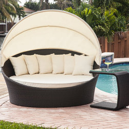 Tropea Bed - Relax in style with this fabulous outdoor sun lounger with built in sun canopy that can fit two people