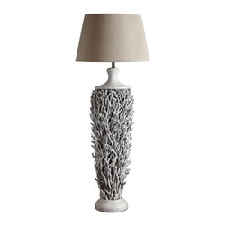 ParrotUncle - Handmade Wooden Table/Floor Lamp in White Painting and Fabric Shade - This stylish wooden lamp is made of tree branches, which looks like a pine covered with snow. This lamp can be both used as table lamp and side floor lamp. The fabric shade is included. Handmade Wooden Table/Floor Lamp in White Painting and Fabric Shade