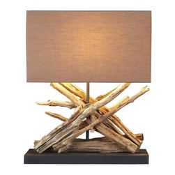Scandinavian Design - Teak Table Lamp - East meet west, This lamp is made of naturally aged teak sticks that gives a warm glow to any room setting