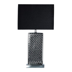 Cortesi Home - Urban Hive Accent Lamp - The Urban Hive accent lamp in a chrome ceramic gives depth and style with its perforated holes design. The lamp shade has a pebbled pattern that mimics the base and comes in a black velvet . This stylish lamp is perfect for a desk or any accent table. UL approved. ON/OFF switch on  plug-in cord. 60W Bulb Max (not included)