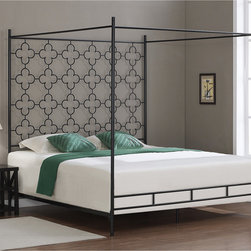 None - Quatrafoil King Canopy Bed - Add a classic touch to your bedroom with this embellished canopy bed. This king bed frame features a black finish and a clean, elegant style.