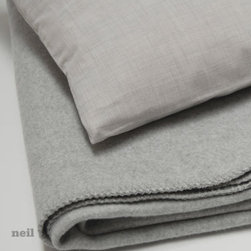 "Area - Neil Ash Travel Set - Includes: 90"" x 90"" Soft Grey Cotton Blanket, Cotton Pillow and Bag"