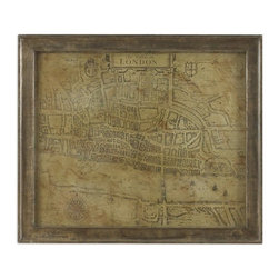 Uttermost - Uttermost The Cittie of London Traditional Wall Art / Wall Decor X-06104 - Print is accented by a wood frame wrapped with metal that is distressed in light and dark browns with the gray metal color showing thru.
