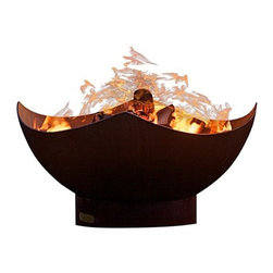 Fire Pit Art - Manta Ray Carbon Steel Fire Pit - The Manta Ray Fire Pit design reflects the giant Manta gliding through the ocean on gentle wing strokes.