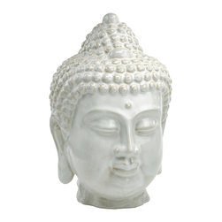 Kathy Kuo Home - Large Antique White Ceramic Buddha Head - This Thai- style Buddha brings serenity and charm to wherever he is placed.  In a neutral off white glaze, he blends beautifully into contemporary spaces of almost every stripe.