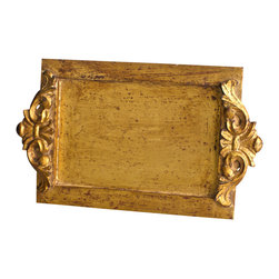 Vendome Gold Leaf Vanity Tray - Complementing the grandeur of gold with the appeal of age, this august Vendome Gold Leaf Vanity Tray offers a focal point of old-world glamor. Ideal for use with collections of perfume bottles or as an elegant setting that keeps bath necessities in one place, the antique gold traditional tray makes rich use of antique rocaille motifs inspired by the height of French interior design, creating a versatile high-end touch.