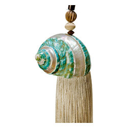 Kouboo - Banded Green Turbo Shell Tassel & Curtain Tieback - This delicately beautiful tassel may be used as a curtain tieback or a hanging decoration adding a coastal or tropical flair to your home. We suggest hanging this piece at the door, from the mantle, a floor lamp or a book shelf. It will not go unnoticed.1 year limited warrantyTassel tied by handChain made from Carabao horn beadsClean with a damp clothWeighs 0.6 lb