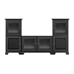 Howard Miller Custom - Jeffrey Cabinet in Antique Black - This cabinet is finished in Antique Black on select Hardwoods and Veneers, with Antique Brass hardware. Cove profile top and Ogee profile base. Hardware: ring pulls on doors. Features soft-close doors and metal shelf clips. Console:. 2 doors with beveled Glass. 2 adjustable interior shelves. Tower:. 2 doors with beveled Glass and 2 beveled panel doors. 4 adjustable interior shelves. Simple assembly required. Console: 47 in. W x 22 1/4 in. D x 29 1/2 in. H. Tower: 27 1/4 in. W x 17 in. D x 54 3/4 in. H. Overall: 101 1/2 in. W