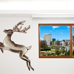 Christmas Reindeer Vinyl Wall Decal ChristmasReindeerUScolor002; 12 in. - Vinyl Wall Decals are an awesome way to bring a room to life!