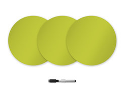 """WallPops - Samara Green Dry Erase Dots Wall Decal - This vibrant chartreuse green hue just begs to be noticed! Make a statement and make it with zest on these sassy dry-erase dots. Each package includes three 13""""x13"""" dots and a dry-erase marker for making declarations, doodles and doing equations."""