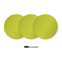 "WallPops - Samara Green Dry Erase Dots Wall Decal - This vibrant chartreuse green hue just begs to be noticed! Make a statement and make it with zest on these sassy dry-erase dots. Each package includes three 13""x13"" dots and a dry-erase marker for making declarations, doodles and doing equations."