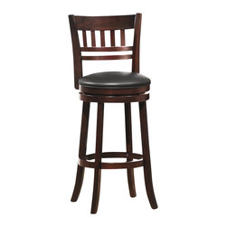 Homelegance - Homelegance Edmond Swivel Pub Chair in Dark Cherry (Set of 2) - Homelegance - Bar Stools - 1140E29S - Expanding the seating availability in your entertainment or dining space has become much less complicated with the Edmond Collection. Offered in a dark cherry finish with black bi-cast seats, the varied designs of the chair backs allow for placement in a multitude of design settings. From casual to formal, the 24 and 29 barstools offer the best selection out there.