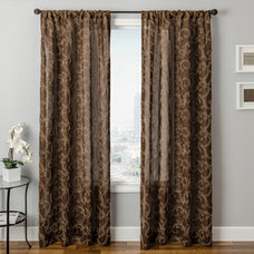Shop allen + roth 63-in L Chocolate Everly Curtain Panel at Lowes.com