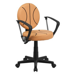 Flash Furniture - Basketball Task Chair with Arms - Bring your favorite sport to the desk with this Basketball Inspired Office Chair that is perfect for all young basketball fans! The round seat and back resembles two basketballs that are upholstered in vinyl material for easy cleaning. With an affordable price tag it is sure to please the young basketball fan in your home.