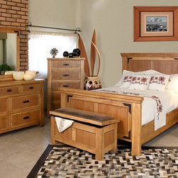 Artisan Home Furniture - Lodge 6 Pc Panel Rustic Bedroom Set (Queen) - Choose Bed Size: QueenIncludes dresser, mirror, chest, nightstand, trunk and bed. Multi-step lacquer finish. Metal accents are oven treated and gives the occasional table a warm Lodge appearance. Full extension glides on drawers. Dovetail hardwood drawers. Crafted from selected hardwoods featuring Cottonwood and Alder. Dresser: 64 in. W x 19.25 in. D x 37.50 in. H. Mirror: 41.75 in. W x 2.75 in. D x 42.50 in. H. Chest: 36 in. W x 19.25 in. D x 54.75 in. H. Nightstand: 26.75 in. W x 19.25 in. D x 28.50 in. H. Trunk: 43.50 in. W x 17.50 in. D x 21.50 in. H. Queen: 89 in. L x 68 in. W x 60 in. H. California king: 89 in. L x 84 in. W x 60 in. H. Eastern king: 89 in. L x 84 in. W x 60 in. HCottonwood and Alder give this bedroom collection additional strength, durability and beauty. The wood tone lacquer coating gives depth, color and clarity to this outstanding bedroom. Enjoy casual elegance every night with your own Lodge Bedroom, a mountain retreat atmosphere in your home.