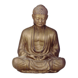 "Antique Bronze Ceramic Meditating Buddha Lotus Seat Sculpture - 30""H"