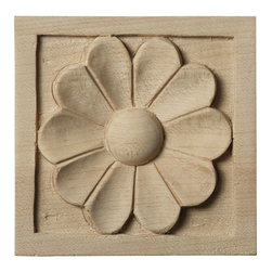 """Ekena Millwork - 3""""W x 3""""H x 5/8""""D Small Medway Rosette, Cherry - Our rosettes are the perfect accent pieces to cabinetry, furniture, fireplace mantels, ceilings, and more.  Each pattern is carefully crafted after traditional and historical designs.  Each piece is carefully carved and then sanded ready for your paint or stain.  They can install simply with traditional wood glues and finishing nails."""