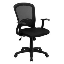 Flash Furniture - Mid-Back Black Mesh Chair with Padded Mesh Seat - This decorative back mesh office chair provides you the basic function needed to complete your everyday tasks at work or home. Chair features a breathable mesh back, tilt control and pneumatic seat lift.