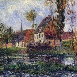 "Gustave Loiseau Small Farm by the Eure River - 16"" x 20"" Premium Archival Print - 16"" x 20"" Gustave Loiseau Small Farm by the Eure River premium archival print reproduced to meet museum quality standards. Our museum quality archival prints are produced using high-precision print technology for a more accurate reproduction printed on high quality, heavyweight matte presentation paper with fade-resistant, archival inks. Our progressive business model allows us to offer works of art to you at the best wholesale pricing, significantly less than art gallery prices, affordable to all. This line of artwork is produced with extra white border space (if you choose to have it framed, for your framer to work with to frame properly or utilize a larger mat and/or frame).  We present a comprehensive collection of exceptional art reproductions byGustave Loiseau."