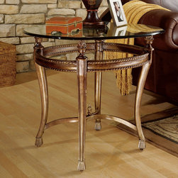 """Hammary - Suffolk Bay Lamp Table in Tortoise Shell Color Finish - The best ideas in designs from around the world - combined with the finest materials available - meet in this new collection to create an unforgettable look for your home. """"Suffolk Bay"""" was inspired by the stately plantations of 19th Century British West Indies, a colonial period that married the furniture styles of Georgian England with the materials of island living. The result: style mixed with durability. Crafted from Honduras Pine and finished in a clear antique tone, select items feature padded leather and woven veneer inserts. The hardware is crafted from the finest antique brass, adding a note of authenticity. Most items are highlighted with a carved pineapple motif or diagonal basket weave panels. Whether you live on a South Pacific island, a Southern plantation, or in neighborhood with the Joneses, """"Suffolk Bay"""" from Hammary promises to add class and unsurpassed style to your decor.; Suffolk Bay Collection; Finish: Tortoise Shell Color; 1/2"""" Bullnose Edge Glass Top; Weight: 58 lbs.; Some assembly required; Dimensions: Base: 28""""W x 28""""D x 24""""H; Top: 28""""W x 28""""D x 0. 5""""H"""