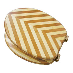 Renovators Supply - Toilet Seats Lt/Dk Bamboo Toilet Seat Brass PVD Hinge Elong | 17094 - Prevent deforestation with an ecological savvy choice- BAMBOO of course! Naturally antimicrobial- sustainable bamboo outlasts hardwood seats. Constructed from triple laminated overlapping slats for maximum strength & durability- these bamboo seats are designed to stand up to daily wear-&-tear. Exquisite decorative inlay pattern gives your seat an original design. Pattern is featured on BOTH sides of the lid so it is decorative when UP or DOWN. Solid brass swivel hinges are easily adjustable 3 5/8 in. to 7 1/2 in. & easier to clean. PVD Physical Vapor Deposition protects brass from tarnishing. Seat measures: 17 5/8 in. x 14 1/2 in. Lid measures: 16 3/4 in. x 13 1/8 in. Elongated shape.