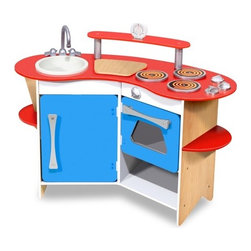 "Melissa and Doug - Cook's Corner Wooden Kitchen - The Cooks Corner Wooden Kitchen has everything a young chef needs. This compact and efficient kitchen play set. This colorful set includes a removable sink, 3-burner cook top and oven, refrigerator, storage shelves, cutting board, clicking knobs and a real, working timer. Its sturdy wooden construction will satisfy every appetite for pretend house and restaurant play. Features: -Wooden kitchen. -Removable sink, a 3 burner cook top and oven. -With clicking knobs, a refrigerator, storage shelves, a ""cutting board"" and a real, working, timer. -Everything a young chef needs is furnished in this compact and efficient kitchen timer. -Sturdy wooden construction to satisfy every appetite for pretend house and restaurant play. -Dimensions: 26"" x 36"" x 16"" Assembled"