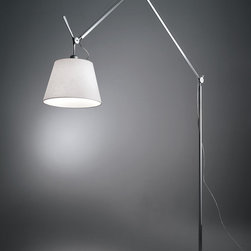Tolomeo mega floor, design by Michele De Lucchi, Giancarlo Fassina - 2002 - Floor standing luminaire for adjustable direct and indirect diffused LED, fluorescent, halogen or incandescent lighting