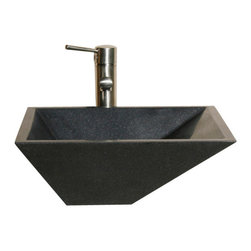 The Allstone Group - V-VGRTTP Black Granite Honed Vessel Sink - Natural stone strikes a balance between beauty and function. Each design is hand-hewn from 100% natural stone.  Vessel sinks can be the most inspiring feature in a bathroom, adding style and beauty to any bath space.  Stone not only is pleasing to the eye but also has the feel of something natural and solid.