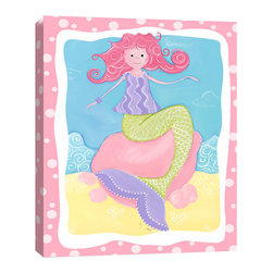 Doodlefish - Milly the Mermaid - Stretched Canvas Giclee of a pink haired mermaid sitting on the shore.  The vibrant colors make this a perfect piece of artwork for a nursery or big girl's room.  The companion piece has a swimming mermaid and is called Mandi the Mermaid.  Both pieces are gallery wrapped canvas with a pink polka dot border.