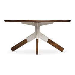 Misewell - Conrad Coffee Table - Misewell - The Conrad coffee table has a stunning solid-walnut top and legs. Each leg effortlessly snaps into the stamped steel bracket without the use of hardware or tools. The powder coated bracket is available in your choice of ivory, black or yellow.
