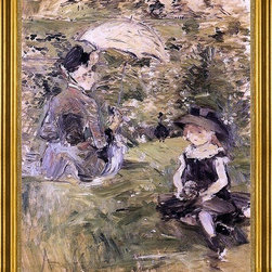 "Berthe Morisot-16""x20"" Framed Canvas - 16"" x 20"" Berthe Morisot Young Woman and Child on an Isle framed premium canvas print reproduced to meet museum quality standards. Our museum quality canvas prints are produced using high-precision print technology for a more accurate reproduction printed on high quality canvas with fade-resistant, archival inks. Our progressive business model allows us to offer works of art to you at the best wholesale pricing, significantly less than art gallery prices, affordable to all. This artwork is hand stretched onto wooden stretcher bars, then mounted into our 3"" wide gold finish frame with black panel by one of our expert framers. Our framed canvas print comes with hardware, ready to hang on your wall.  We present a comprehensive collection of exceptional canvas art reproductions by Berthe Morisot."