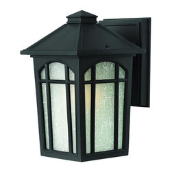 Hinkley Lighting - 1980BK Cedar Hill Outdoor Wall Light, Black, White Linen Glass - Transitional Outdoor Wall Light in Black with White Linen glass from the Cedar Hill Collection by Hinkley Lighting.