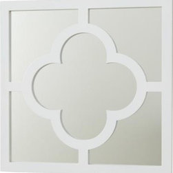 My Lucky Four-Leaf Mirror, White - This cute mirror is the perfect (small) size to hang in a group of three over a bed. Or I might use to create a larger statement over a console table.