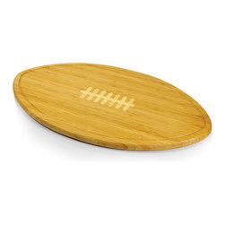 Picnic time - Kickoff- Football Cutting Board w/ serving tray w/ silicone trim - Extra large football-shaped cutting board and serving tray with laced design and recessed juice groove.