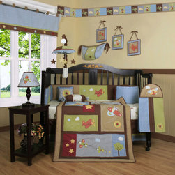 """Geenny - Boutique Airplane Aviator 13 Piece Crib Bedding Set - This listing is for a 13 piece beautiful Geenny brand new crib set with all the bundle you will need. This set is made to fit all standard cribs and toddler beds. The whole set comes with 10 pieces plus 3 new wall art decor hangings, which comes out as a total 13 piece bundle. The set is made by Geenny Designs, well known as Nursery Series Products Designs. All bundled pieces are in a brand new zippered, handled carrying bag. Dress up and decorate your baby's room with this beautiful 13 piece crib bedding set. Features: -Set includes: Crib quilt, two valances, skirt, crib sheet, bumper, diaper stacker, toy bag, two pillows, three wall hangings. -Material: 65 / 35 Percent of Polyester / Cotton. -Crib quilt: 45"""" H x 36"""" W. -Crib bumper: 10"""" W x 158"""" D. -Fitted crib sheet: 52"""" H x 28"""" W. -Window valances: 16"""" H x 58"""" W. -Crib skirt: 28"""" H x 52"""" W. -Toy bag: 20"""" H x 14"""" W. -Decorative accent pillows: 10"""" H x 10"""" W. -Machine washable."""