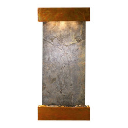 Adagio Water Features - Cascade Springs Wall Fountain, Rustic Copper, Green Featherstone, Square Frame - Comes complete with polished river rock, halogen lighting, and electric pump.