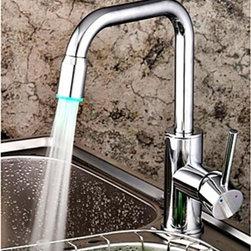 Kitchen Sink Faucets - LED Centerset Contemporary Chrome Kitchen Faucet--FaucetSuperDeal.com