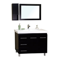 "Bella Terra - Bellaterra 39"" Single Sink Vanity in Wood-Black -Left Side Drawers - Satisfy your home design needs with this black finished vanity offering a contemporary smart design with plenty of storage space and traditional features. The modern bathroom vanity is constructed of Solid wood. Features include an oversized white ceramic sink and counter-top and modern chrome accents. The style and beauty of the vanity is an exquisite design for a bathroom."