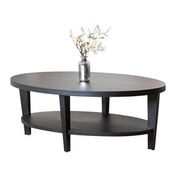 Abbyson Living - Forgia Oak Finish Coffee Table - This dashing  coffee table is perfect for any room in your house. It is crafted of solid oak wood and features a bottom shelf for extra storage. With a unique and stunning design, you can enjoy for years to come.