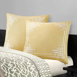 N Natori - N Natori Fretwork Euro Sham - The Fretwork Euro Sham features and embrodery pattern on cotton sateen. The dried moss colors add a bit of an accent into the overall Fretwork collection by N Natori. Face:250TC 100% cotton sateen with emb., Back:T250 100% cotton sateen solid