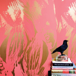 Betta Wallpaper, Persimmon - This raspberry and gold wallpaper is among my favorites. It will add instant glamour to any room.
