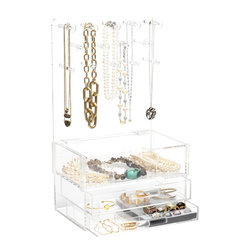 GLAMbox - GlamClassic Jewelry Box with Acrylic Handles - The GLAMbox Jewelry Organizer and Display is the ultimate way to see all of your jewelry and have easy access to all of your pieces. The GLAMbox Jewelry Organizer and Display is a gorgeous design that is high quality and modern with a sleek twist. There are two versions of this GLAMbox, one is a sleek smooth box and the other has acrylic rods on each side to use as bracelets holders. The crystal clear box makes it seem like your jewelry is floating in air, and is a beautiful piece of art at the same time. You will feel like you are going shopping for jewelry each time you pick a piece from your glamorous GLAMbox!