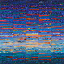 """Available work - Sometimes dawn breaks slowly and gently across the sky with colors reflecting against the horizon. A simple color study that is also complex and soothing. All cotton machine pieced and quilted by the artist. 45 x 45"""" Photo by John Polak."""