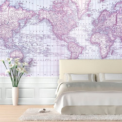 Swag Paper - Swag Paper Rand McNally 1879 World Atlas Map Self-Adhesive Wallpaper - MWORLDVIN - Shop for Wallpaper from Hayneedle.com! Take a trip around the world without leaving the room with the Swag Paper Rand McNally 1879 World Atlas Map Self-Adhesive Wallpaper. This stunning historical cartographic image is a map of the world as known in 1879. An accurate reproduction of Rand McNally and Company's 1879 World Atlas Map this wallpaper design is impressive in its scale and authenticity. It comes in your choice of available colors and sizes.This map of the 1879 Rand McNally World Atlas is designed to make the hearts of renters do-it -yourselfers and history buffs skip a beat. It has an easy peel-and-stick design that is crinkle-free repositionable and removable. It applies easily over clean primed or painted walls as well as flat surfaces and furniture. Finally you can have a professional custom look you created yourself.The Tools You'll Need:Tape measureSpongeStraight edgeLevel (optional)Utility knife or razor bladePlastic smoother (a credit card also works)Step stool or ladderEasy Installation Instructions:Measure the width of your wall in feetDivided the width by 2 to find the number of panels you'll needPeel backing by about 8 to 12 inches and apply to wallSmooth overKeep pulling the backing away in 8- to 12-inch incrementsTrim off the excess materialOverlap panels by 1 inch to match patternsCreate a butt seam by cutting the top overlapping layer of wallpaper removing it and smoothing overSwag Paper - Empowering the Do-It-Yourselfer:Forget the paste the crinkles and cutting rolls of wallpaper to make the patterns match. Dave and Daniela Fields a brother-and-sister team developed Swag Paper for Do-It-Yourselfers with high aspirations and little time. Their adhesive-backed panels apply in a fraction of the time it takes to apply traditional wallpaper and all you really need in the way of tools is a tape measure sponge straight edge utility knife and credit card. Swag Paper is removable non-destructive and residue free making it the go-to solution for renters with big decorating plans.About Swag Paper s Vintage Maps CollectionWith their Vintage Maps Collection the style experts at Swag Paper have designed an amazing new way to create a show-stopping space. This collection includes original hand-drawn and charted historical maps that range from the early 1700s to 1900s. Any imperfections have been digitally corrected to provide the best visual quality while keeping the authentic appeal of the map. Like all Swag Paper wallpapers the Vintage Maps Collection is a breeze to apply remove and reapply at will. Choose from a wide variety of colors and maps including world atlas states hemispheres and a variety of city designs.