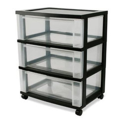 IRIS USA, Inc. - 3-Drawer Wide Cart with Casters, Black/Clear - This 3 Drawer Wide Cart offers a modern look with functionality of 3 deep drawers as well as an organizer top. Great for storing items in the home, office or hobby room. Includes casters and built-in drawer stops.